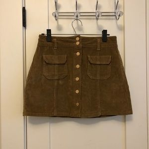 Button Front Corduroy Skirt